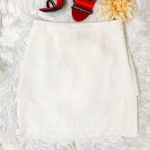 Ann Taylor White Scalloped Skirt